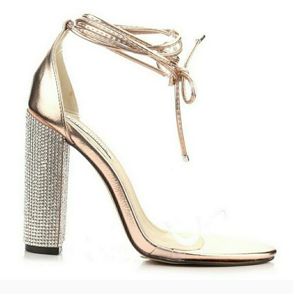382bc2ec35b9 NEW rhinestone block heel  GOLD
